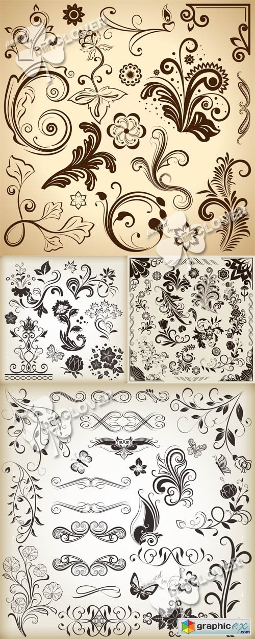 Vector Floral vintage design elements 0517