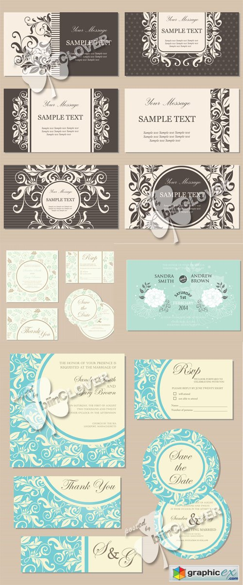 Vector Gentle wedding invitation cards 0517