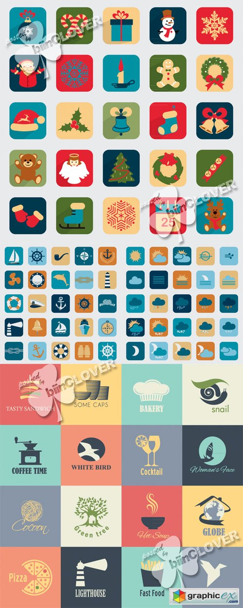 Set of retro  icons and widgets 0517