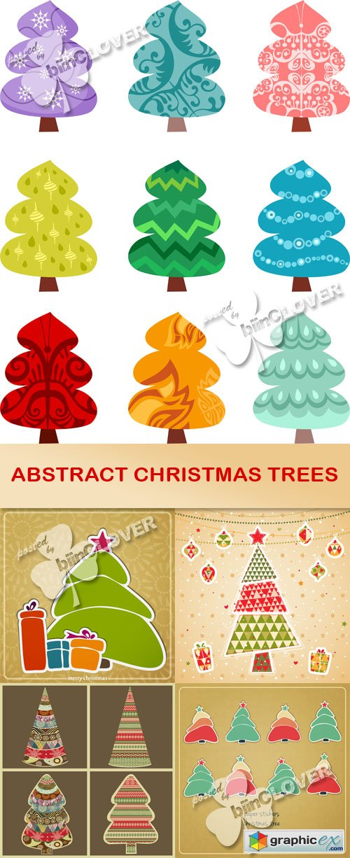 Vector Abstract Christmas trees 0515