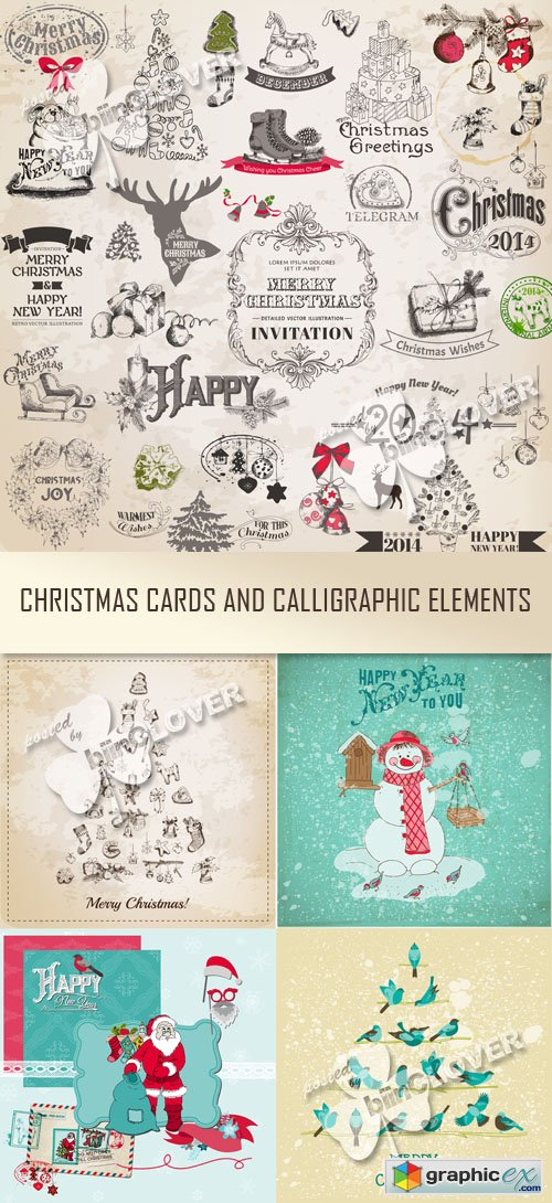 Vector Christmas Card and calligraphic elements 0515
