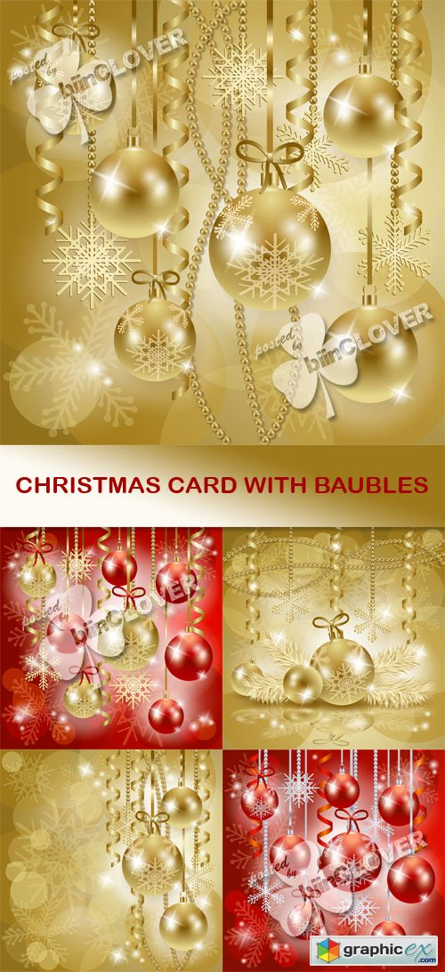 Vector Christmas card with baubles 0515
