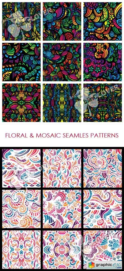 Vector Floral and mosaic seamless patterns 0515