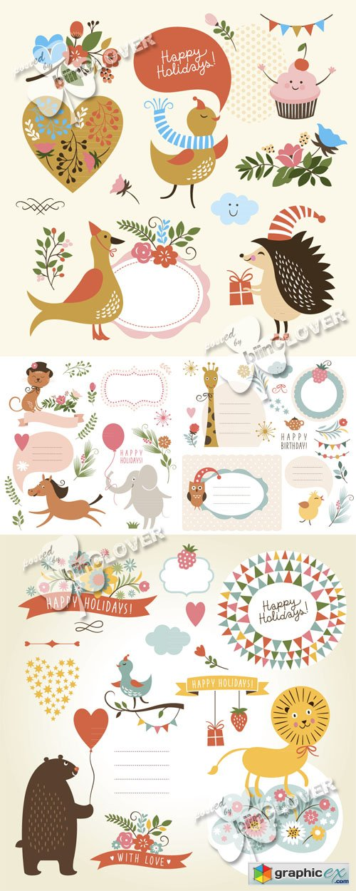Vector Greeting cards with animals 0515