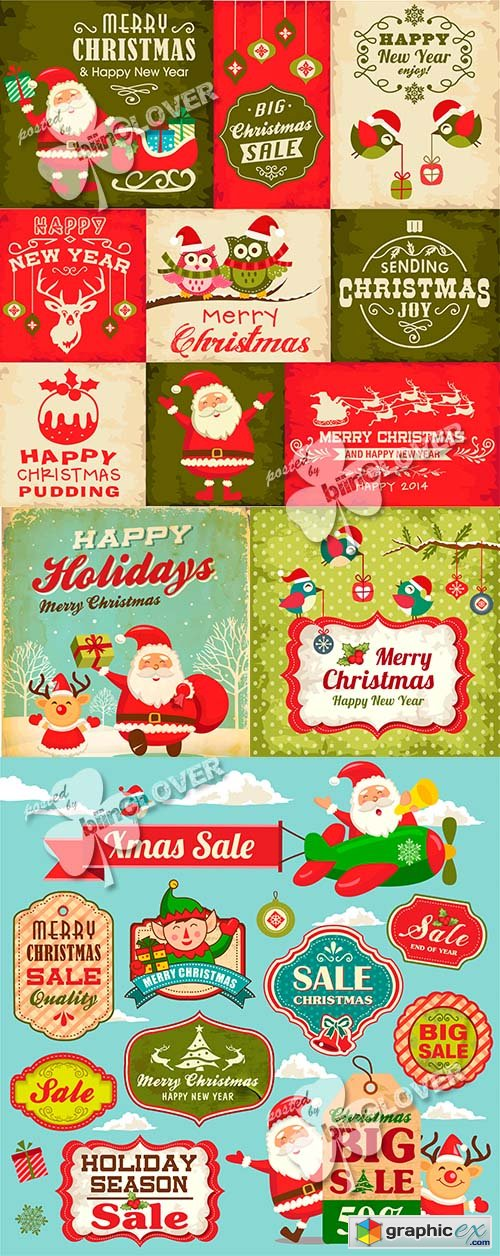 Vector Christmas  cards and symbols 0514