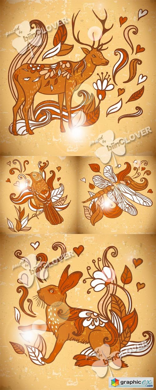Vector Funny  background with animals 0514