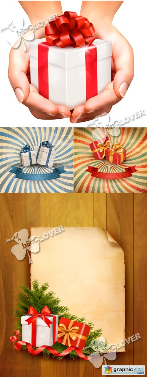 Vector Retro background with gift boxes 0415