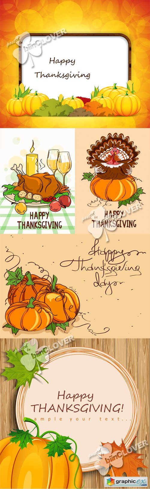 Vector Thanksgiving cards 0513