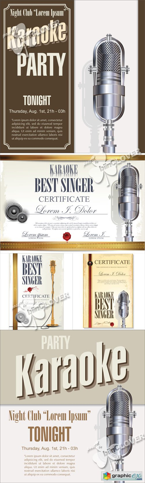 Vector Karaoke background and certificate template 0546