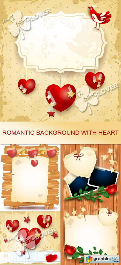 Vector Romantic background with heart 0546
