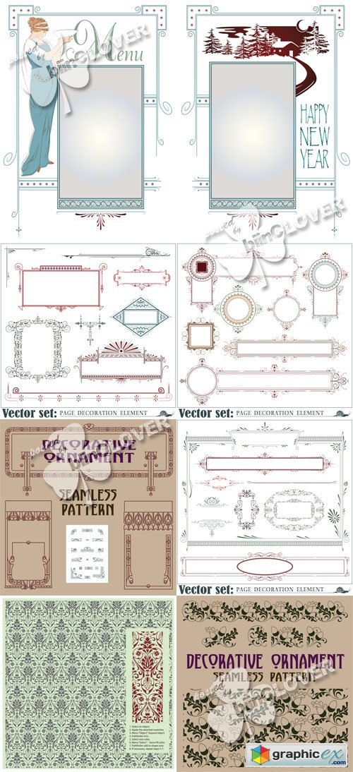 Vector Decorative elements, borders and frames 0546