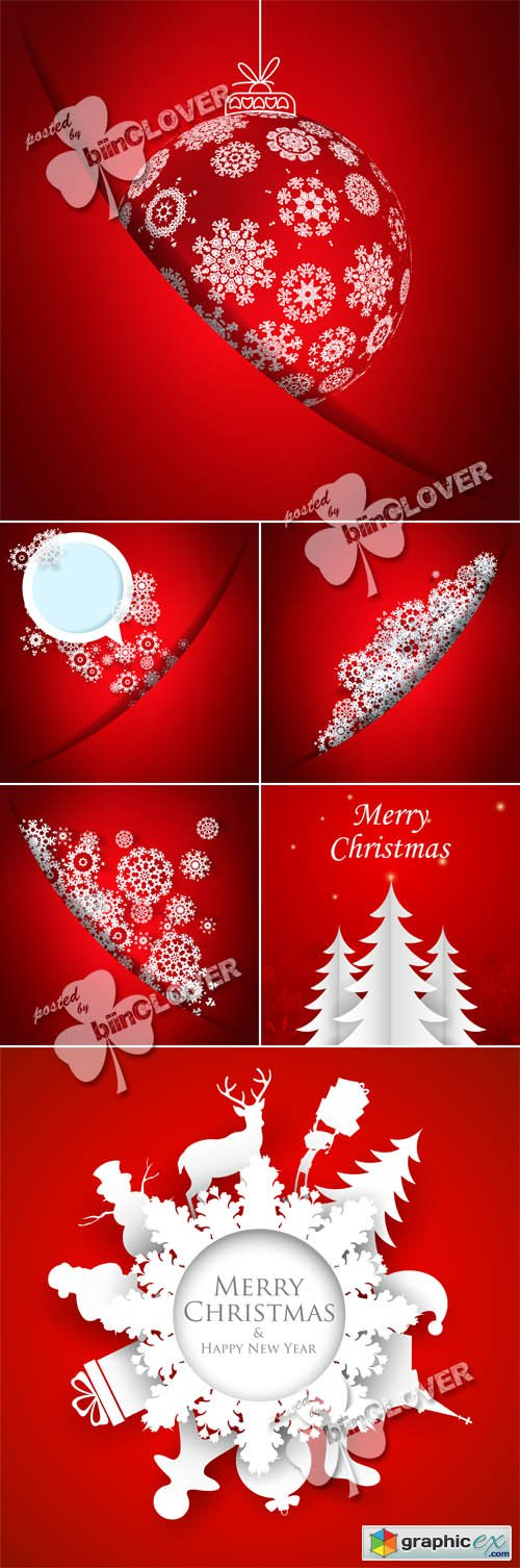Vector Red christmas cards 0512