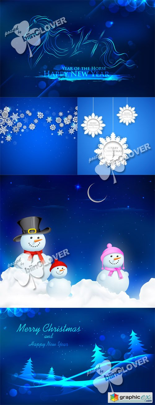 Vector Blue Christmas cards 0511