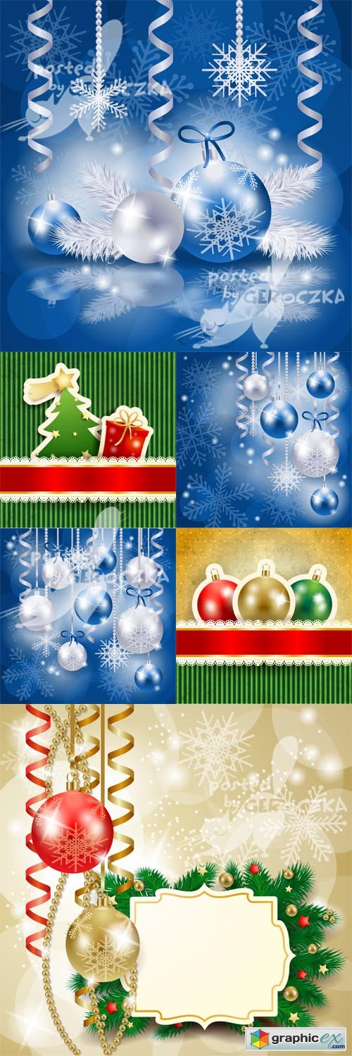 Vector Christmas background with baubles 0511