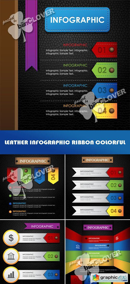 Vector Leather infographic ribbon colorful 0511