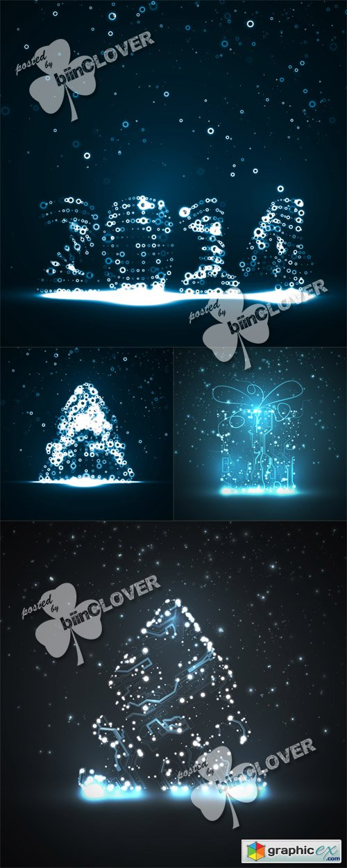 Vector New Year lights illustrations 0510