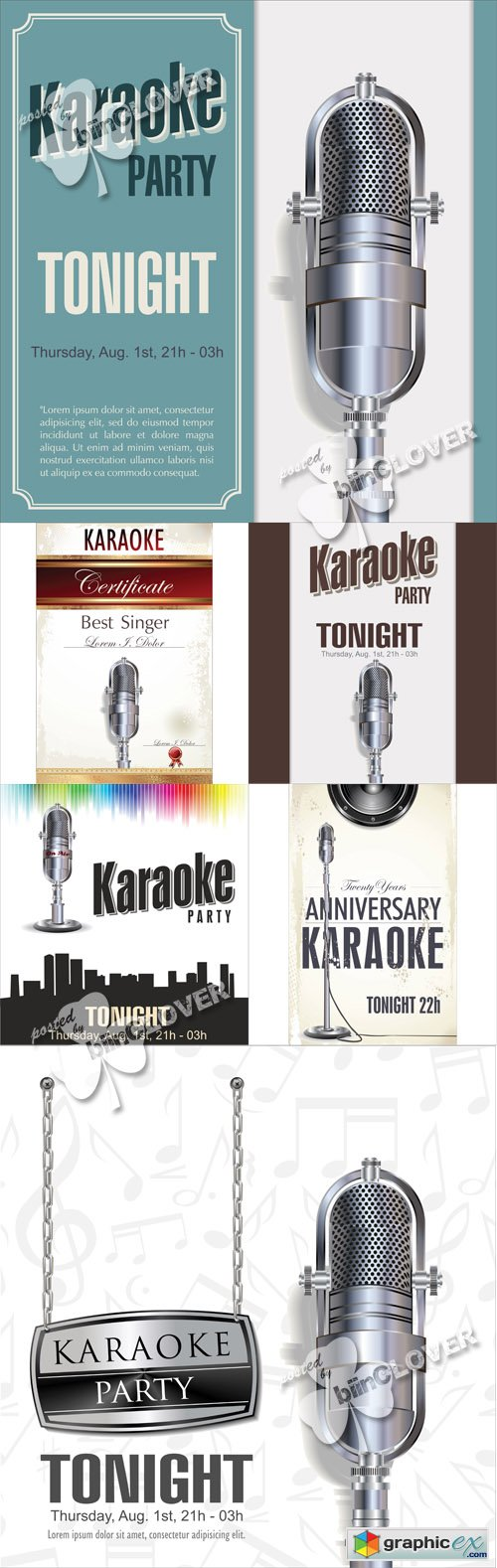 Vector Karaoke background and certificate template 0510
