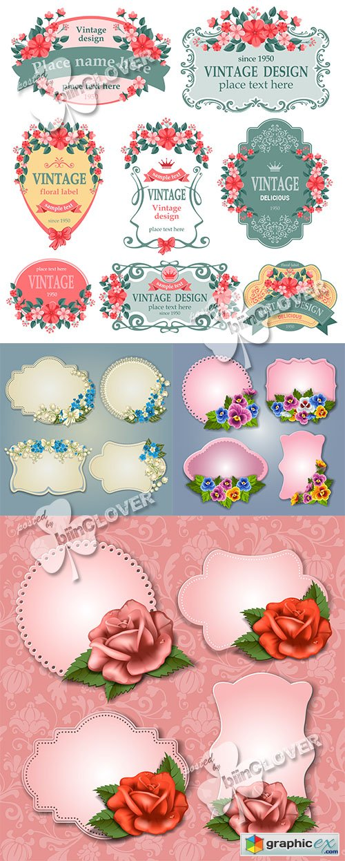 Vector Greeting cards and labels with floral 0510