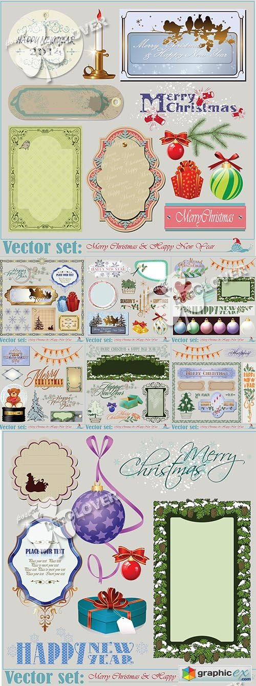 Vector Christmas and New Year design elements 0509