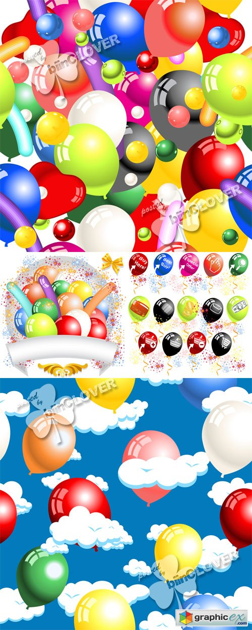 Vector Holiday background with ballons 0508