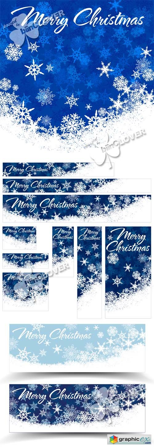 Vector Christmas cards  and banners with snowflakes 0507