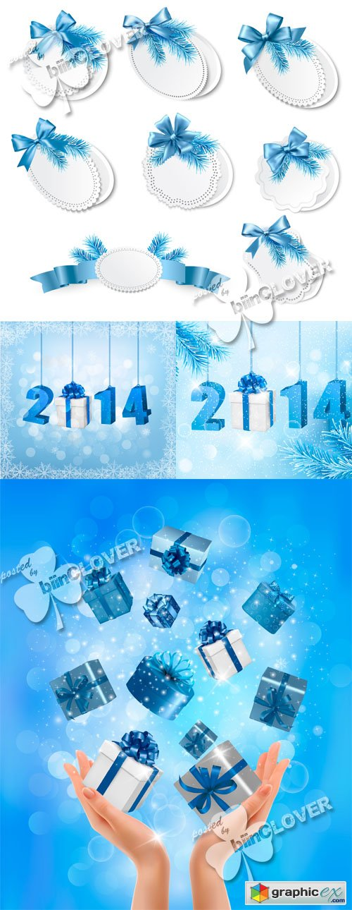 Vector Happy new year 2014 cards 0507