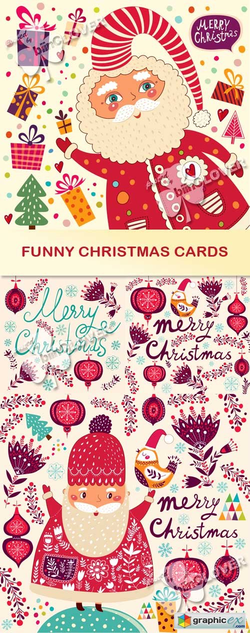 Vector Funny Christmas cards 0507