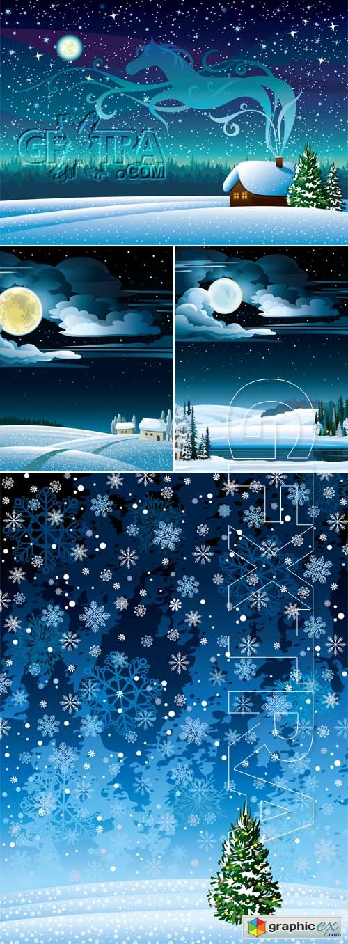 Vector Winter landscape 0507