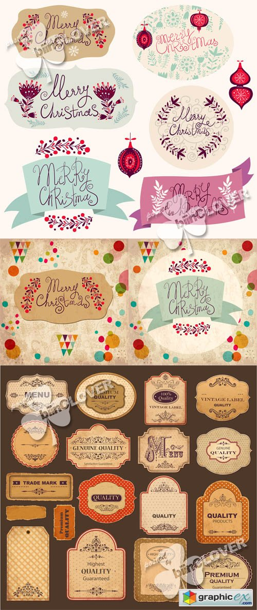 Vector Christmas vintage and retro labels 0507
