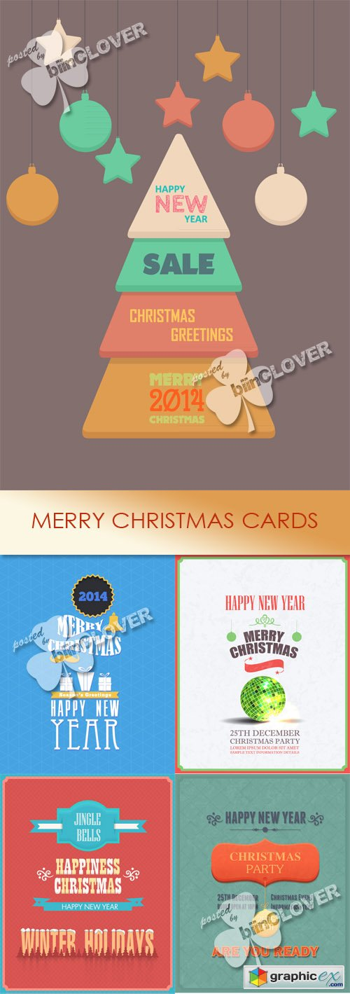 Vector Merry Christmas cards 0506