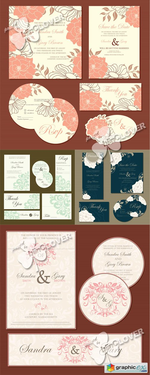 Vector Wedding invitation cards 0506