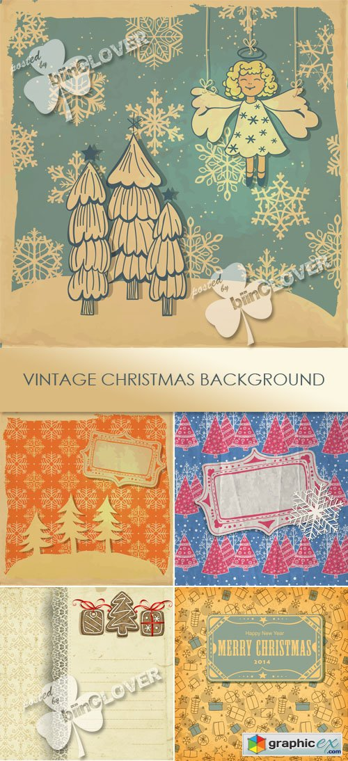 Vector Vintage Christmas background 0505