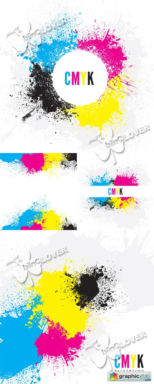 Vector CMYK paint splatters 0505