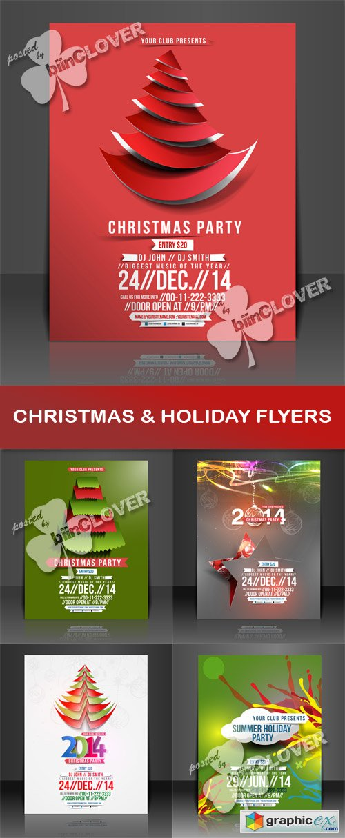 Vector Christmas and holiday flyer 0505