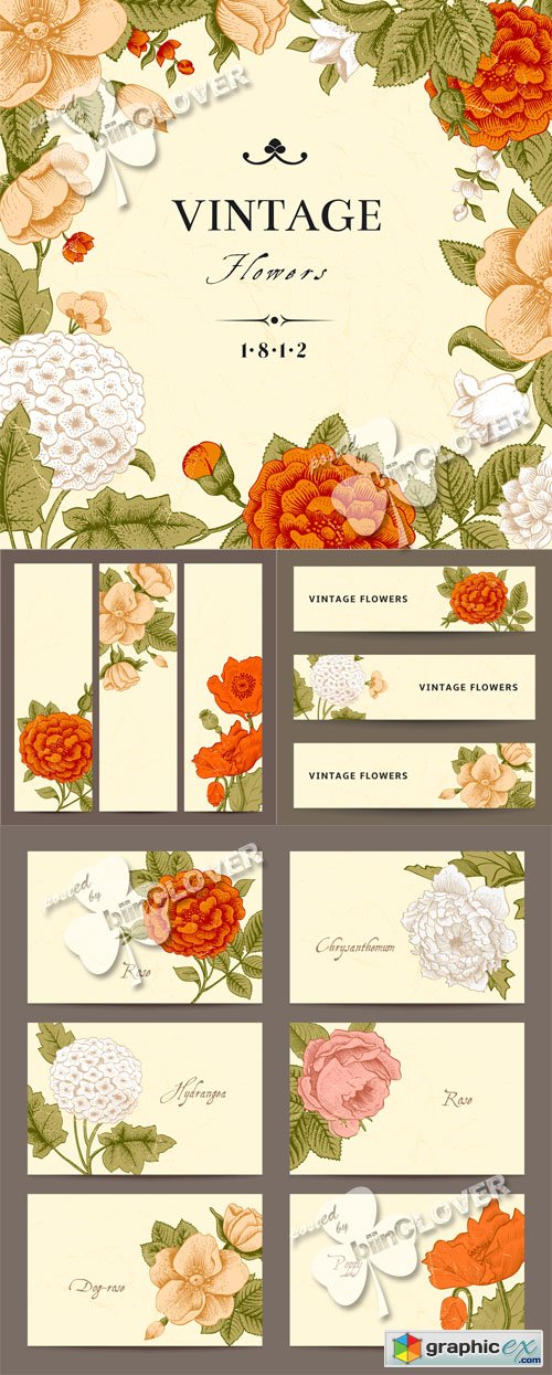 Vector Floral business cards and banners 0505