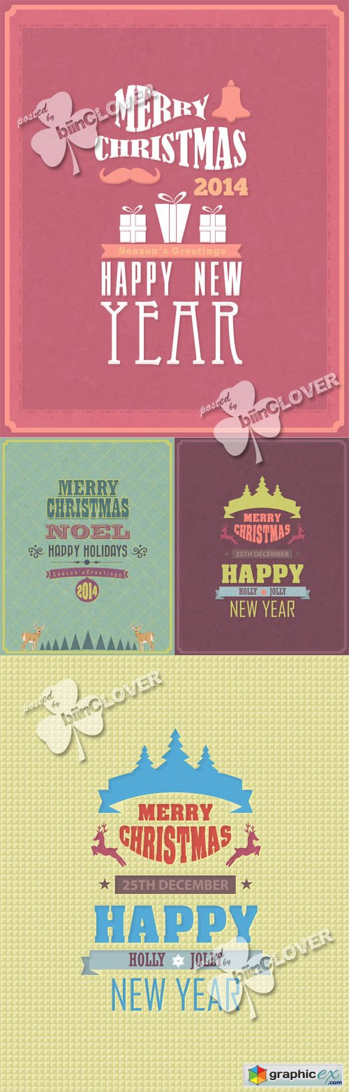 Vector Merry Christmas and Happy New Year cards 0505