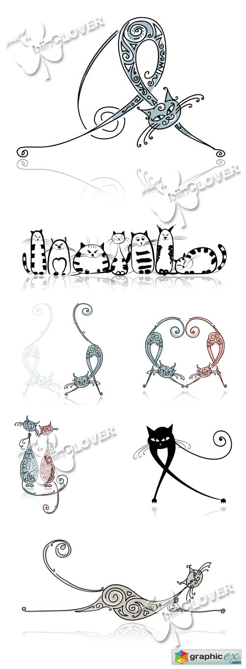 Vector Funny cartoon cats illustrations 0504