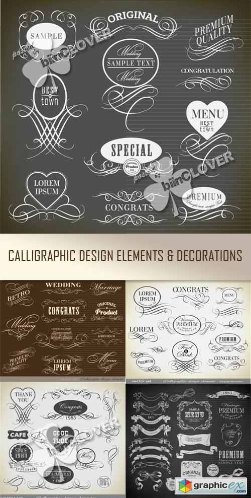 Vector Calligraphic design elements and decoration 0503