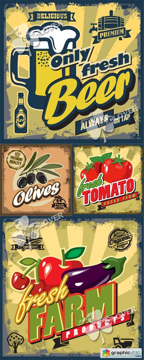 Vector Vintage foods and drinks backgrounds 0503
