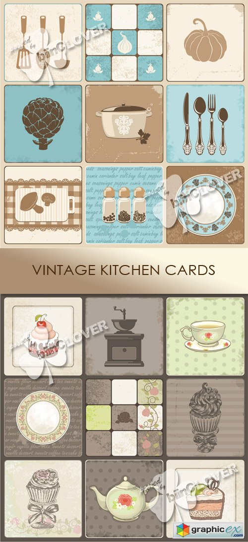 Vector Vintage kitchen cards 0503
