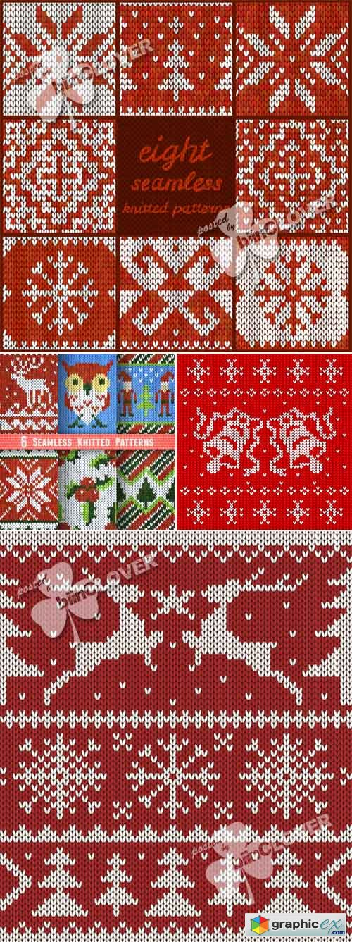 Vector Christmas seamless knitted backgrounds 0501