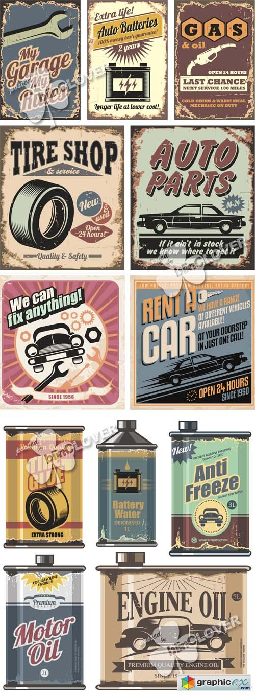 Vector Retro auto service illustrations 0501
