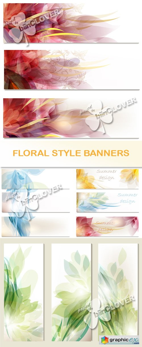 Vector Floral style banners 0500