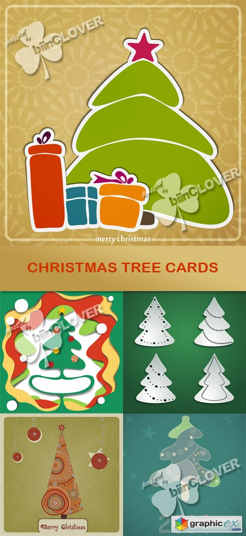 Vector Christmas tree cards 0500