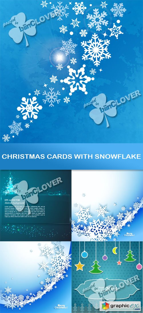 Vector Christmas cards with snowflake 0500