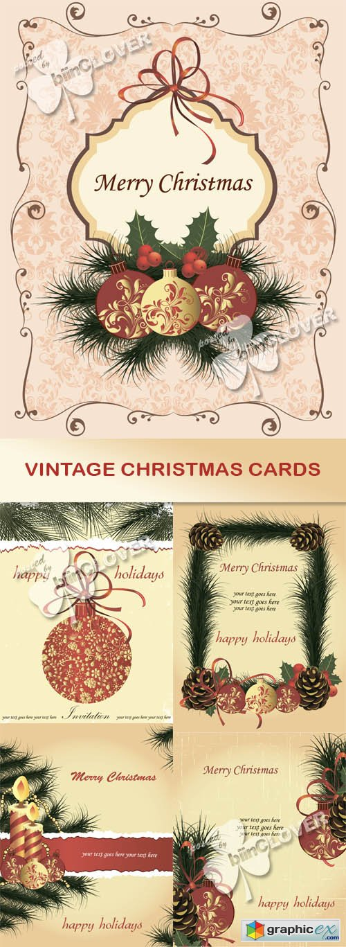Vector Vintage Christmas cards 0499