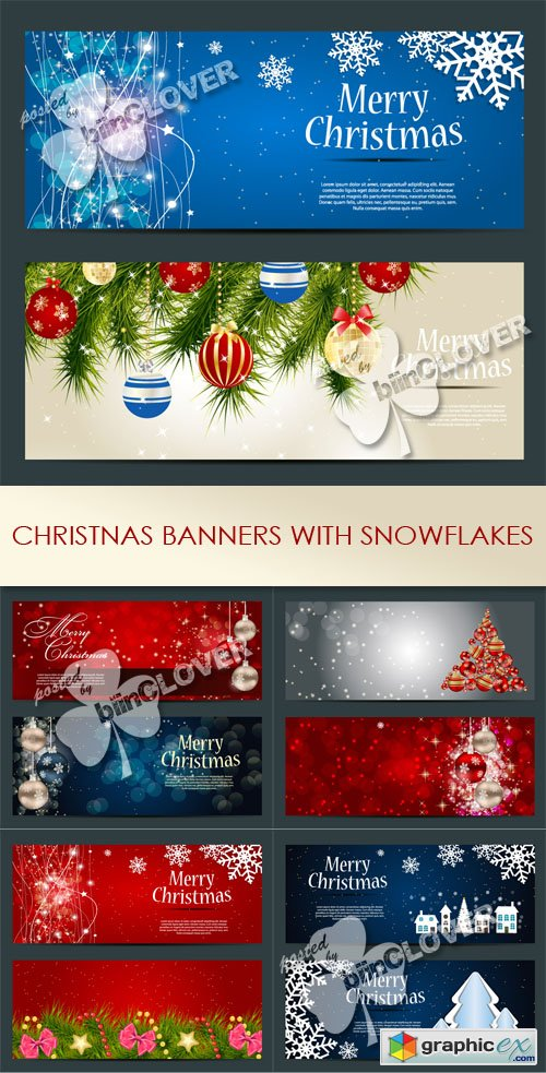Vector Christmas banners with snowflakes 0499