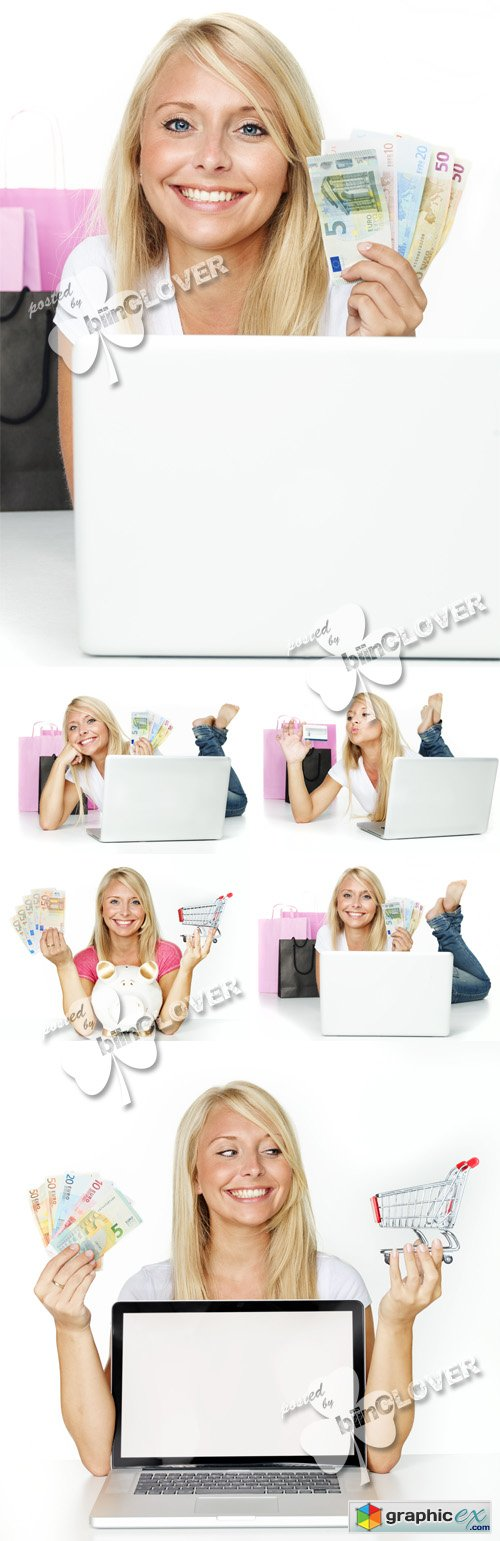 Woman and internet purchase 0498