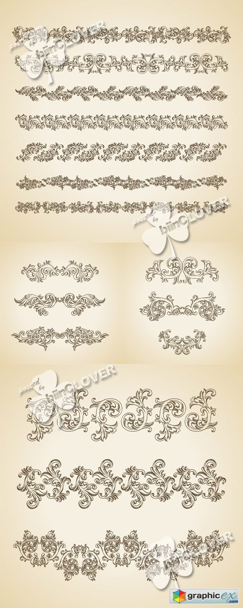 Vector Vintage floral design elements 0497