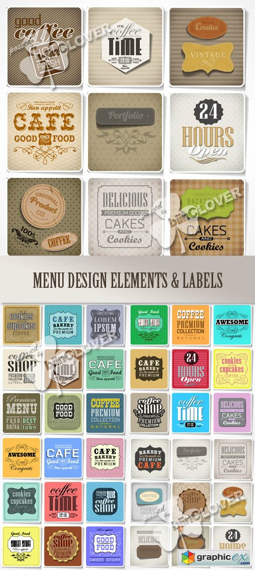 Vector Menu design elements and labels 0496